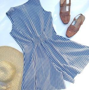 Vintage Pants - Vintage • blue gingham plaid button front romper